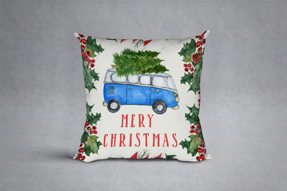 Watercolor Christmas Cars clipart example image 8