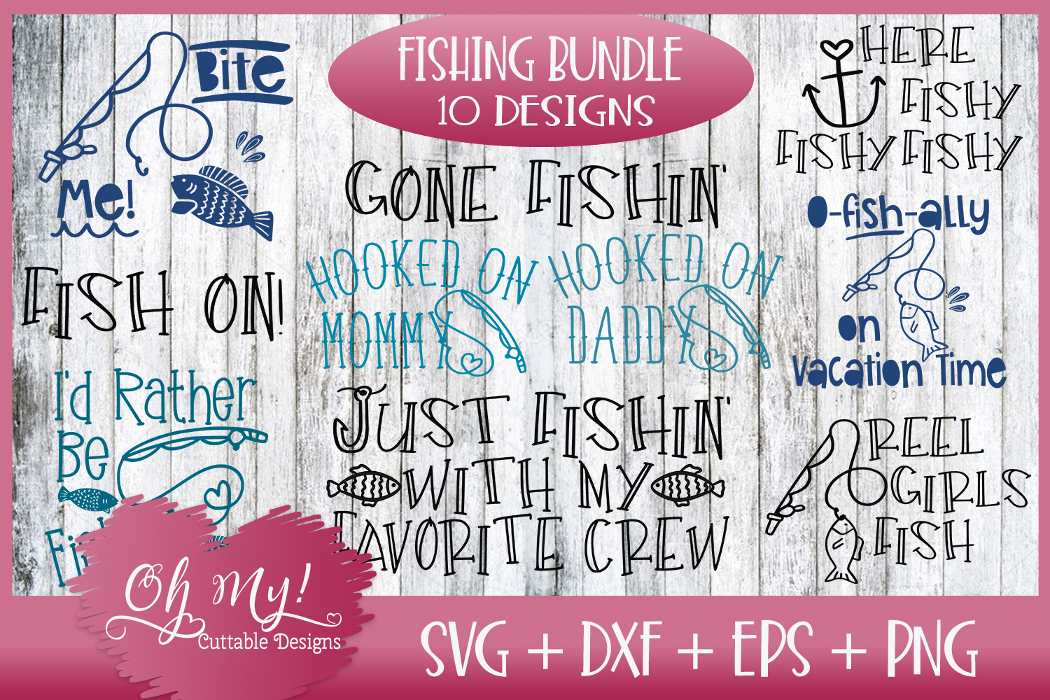 Fishing Bundle - 10 DESIGNS - SVG DXF EPS PNG Cutting Files example image 1