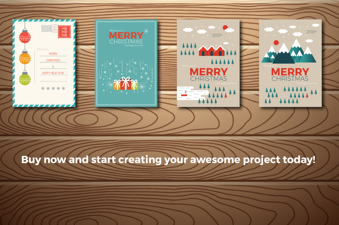 20 Christmas & New Year Cards Template AI, PS example image 4
