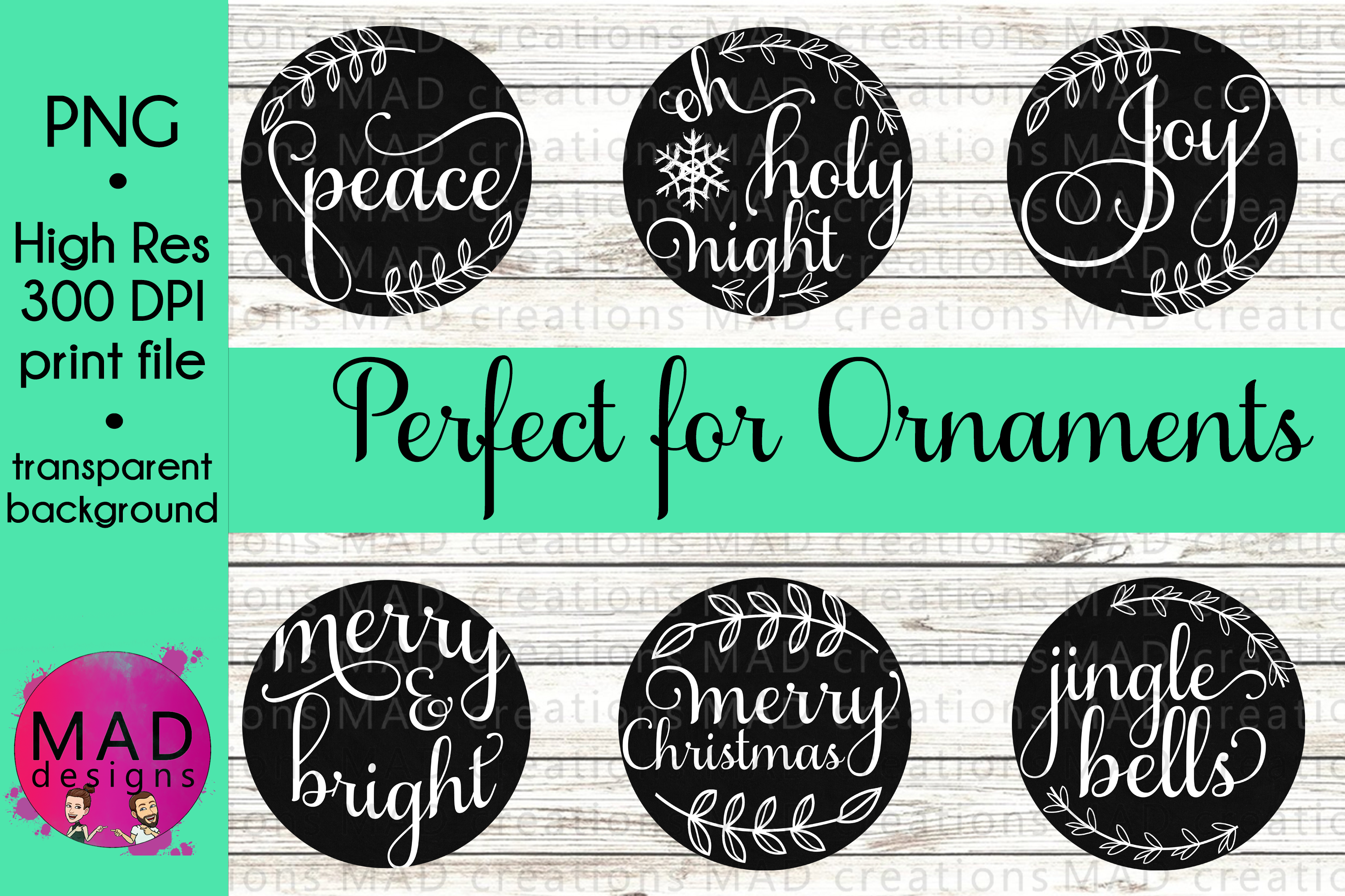 Bundle - Black Chalkboard Christmas Ornament Designs example image 1