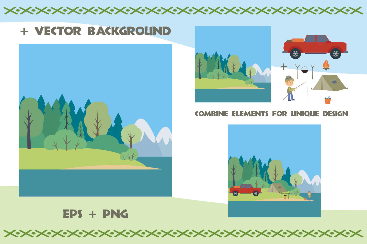 Camping life. Vector cliparts. example image 5