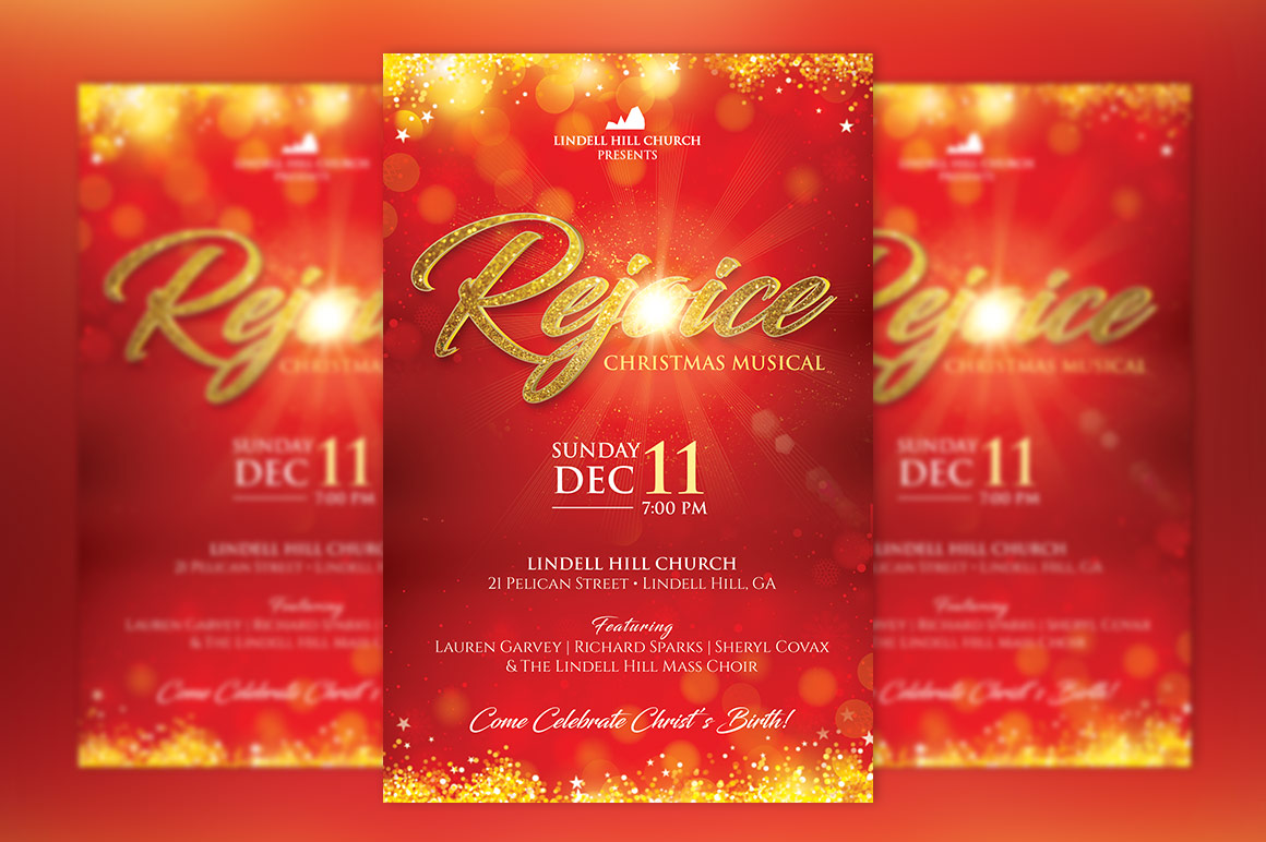Rejoice Christmas Flyer Poster Template example image 2