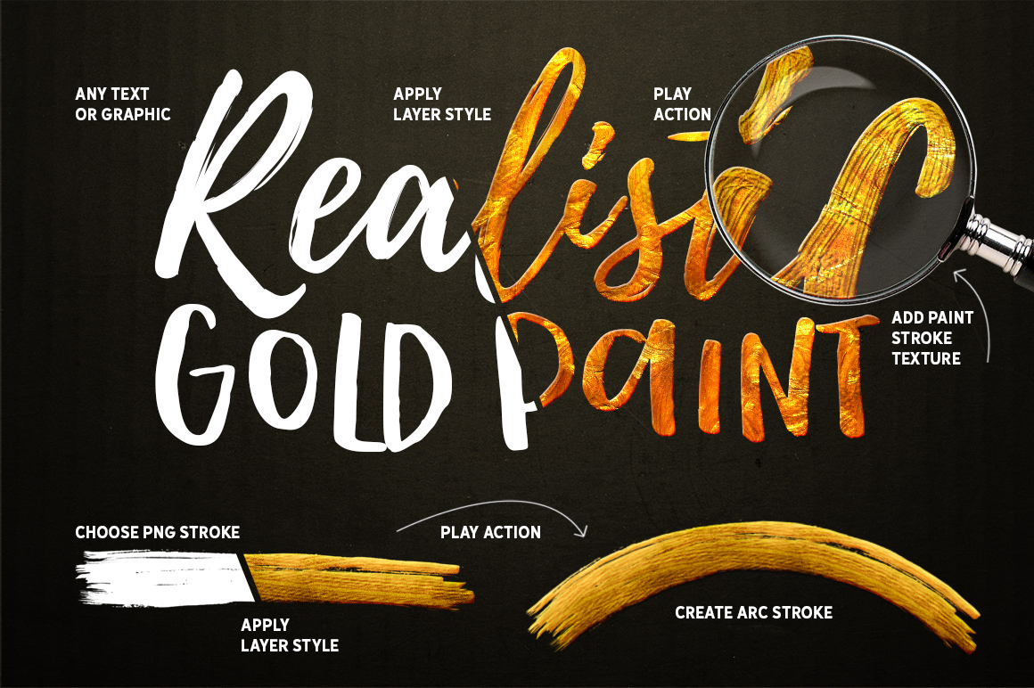 Gold Paint Effect For Photoshop example image 2