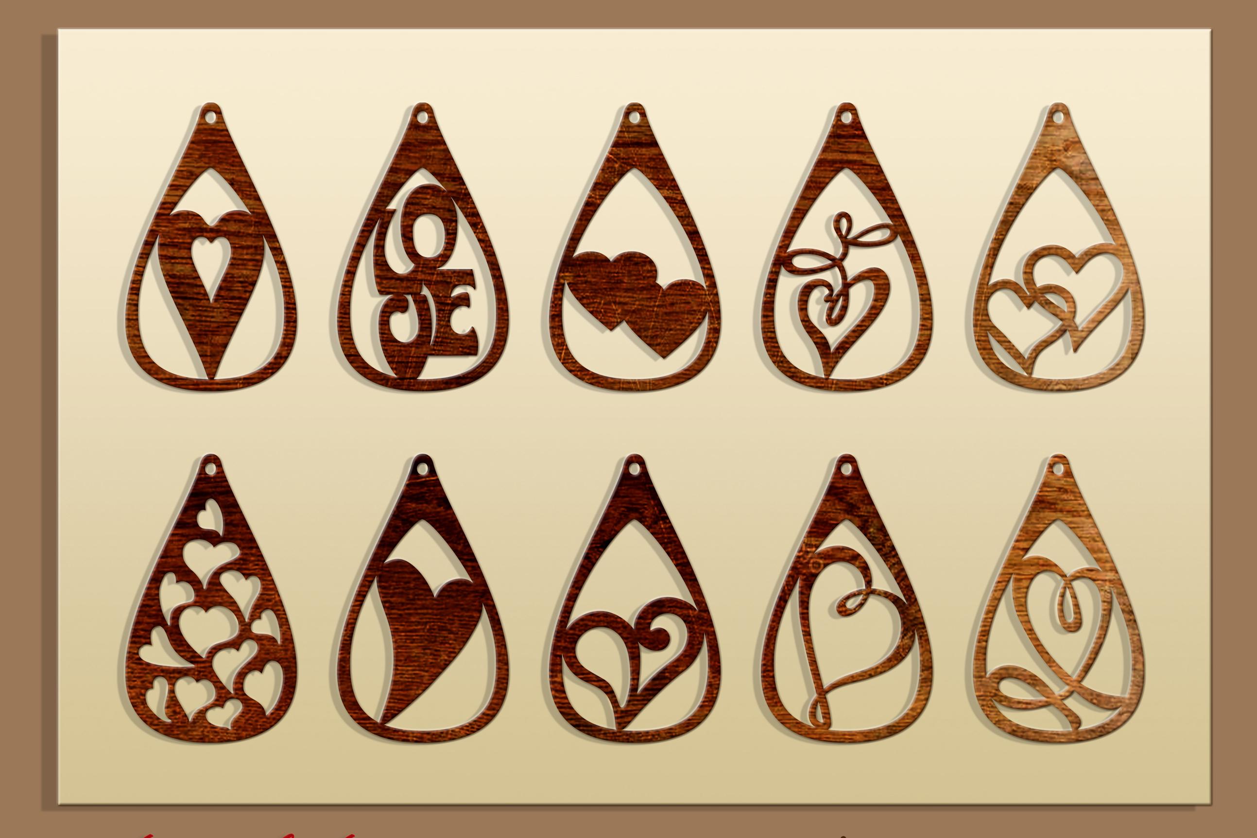 50 Leather earring bundle svg Valentine Love svg Heart example image 6