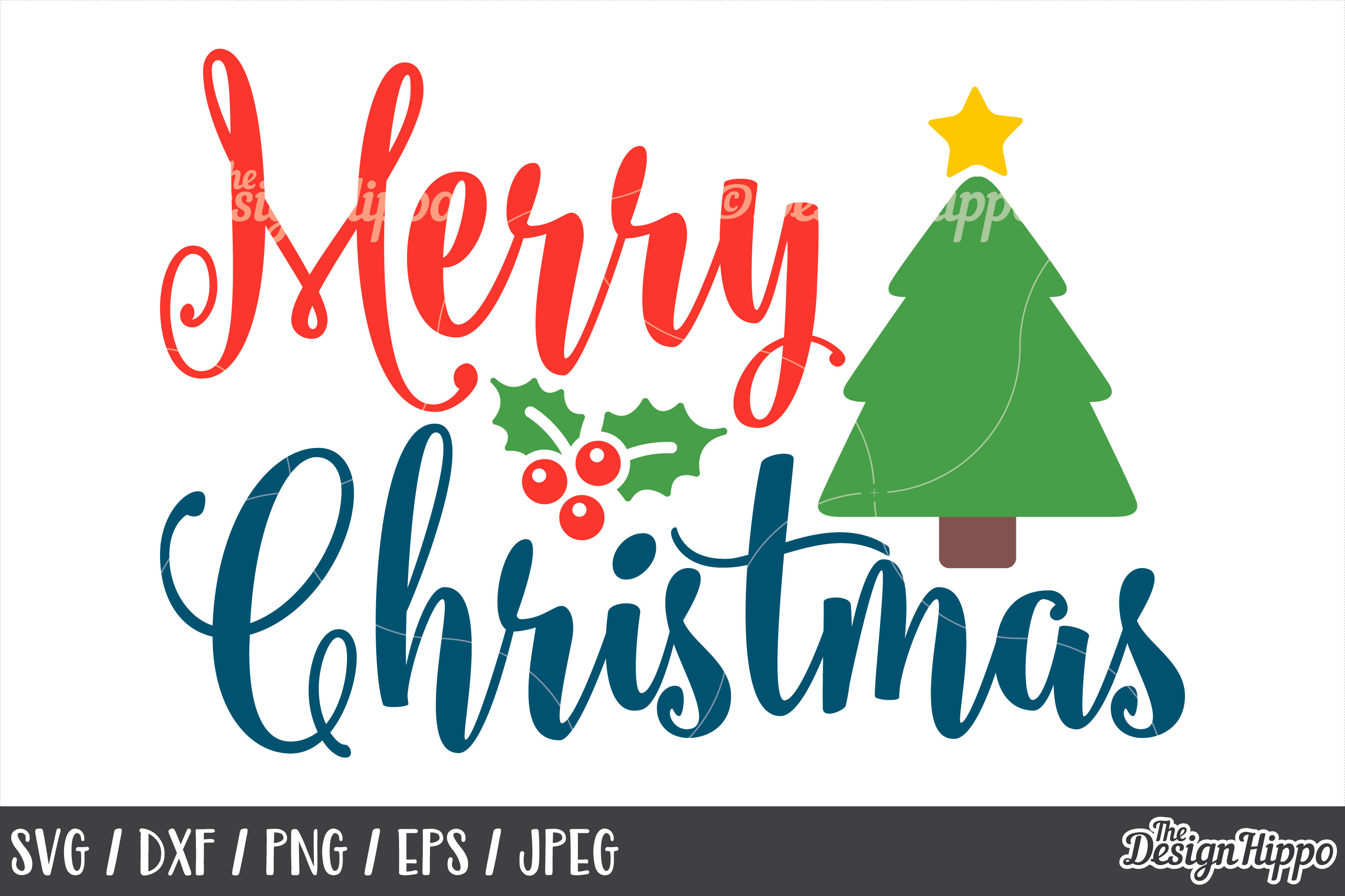 Christmas Tree, Merry Christmas SVG, DXF, PNG, Cricut, Files example image 1