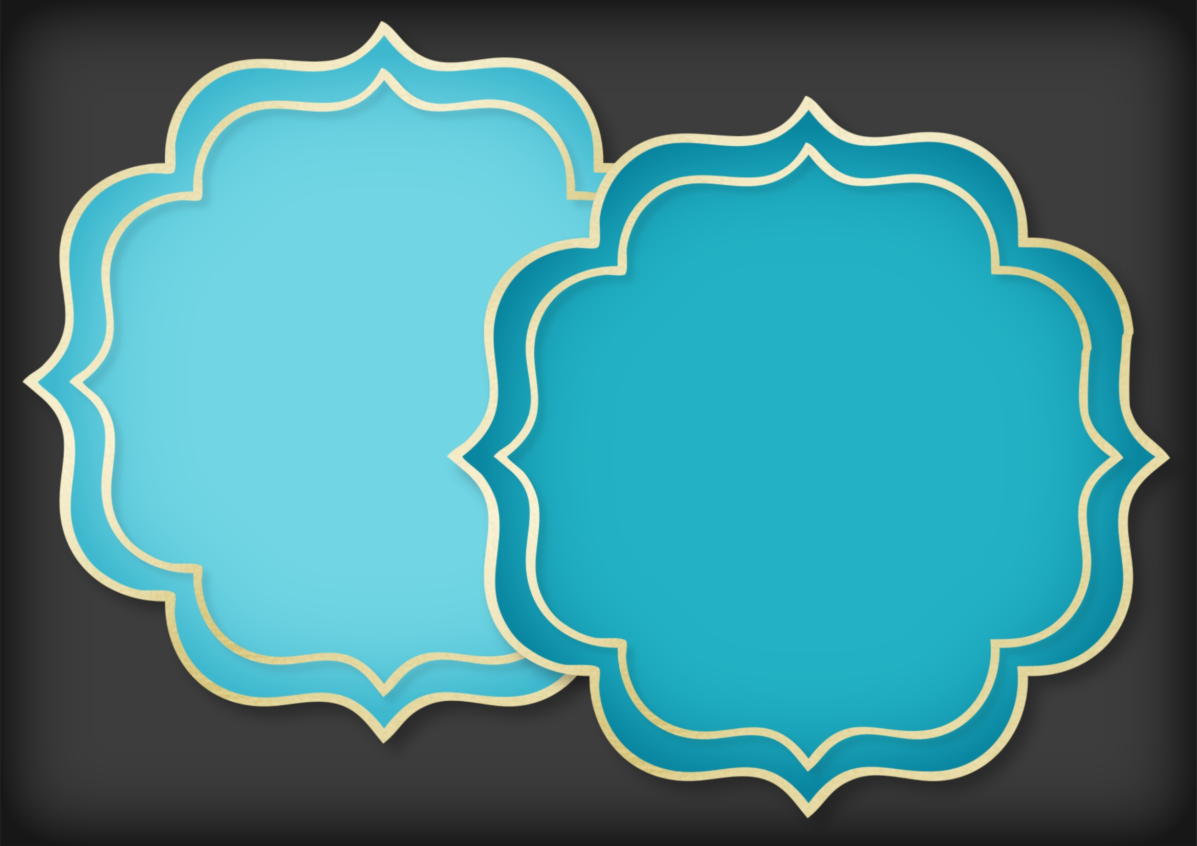 Teal and Soft Gold Mat Frame Doily example image 4