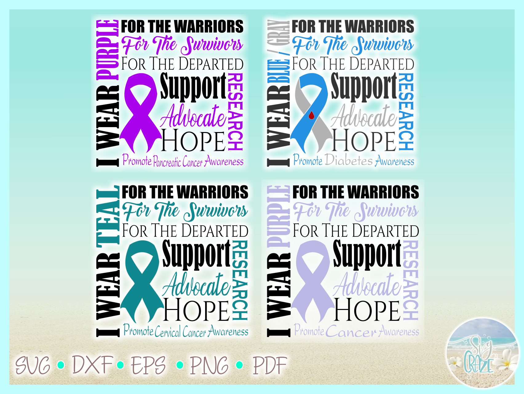 Awareness Ribbon Bundle SVG Dxf Eps Png files example image 5
