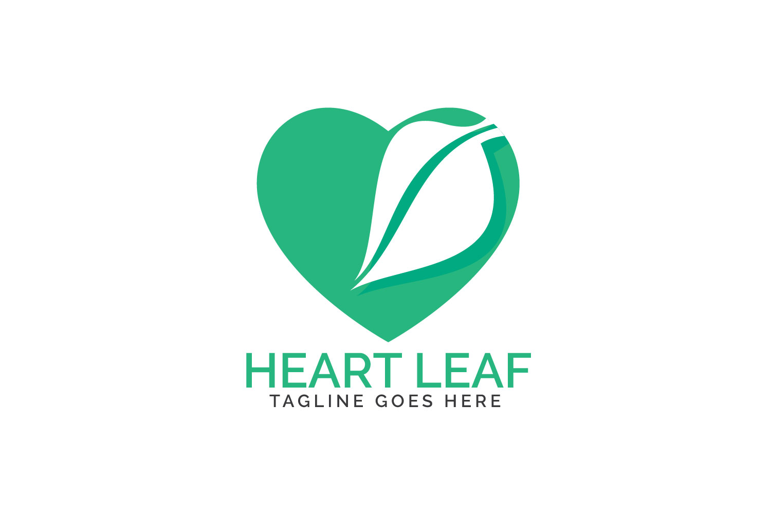 Heart leaf logo design. example image 1
