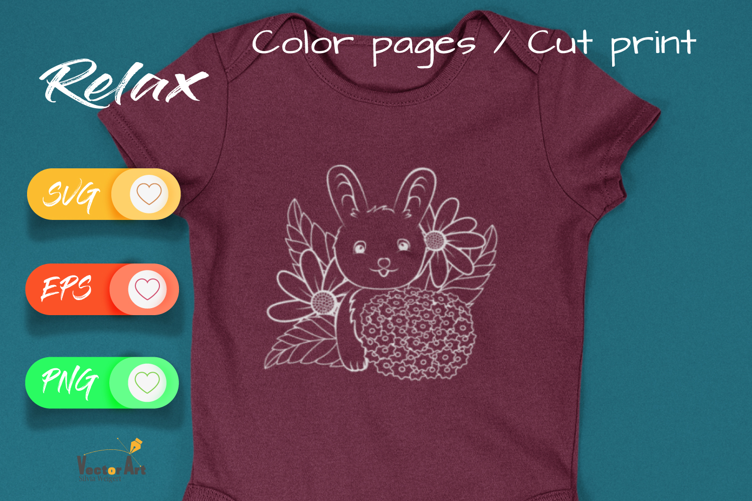 Sweet Bunny - Cut File and Coloring Page example image 4