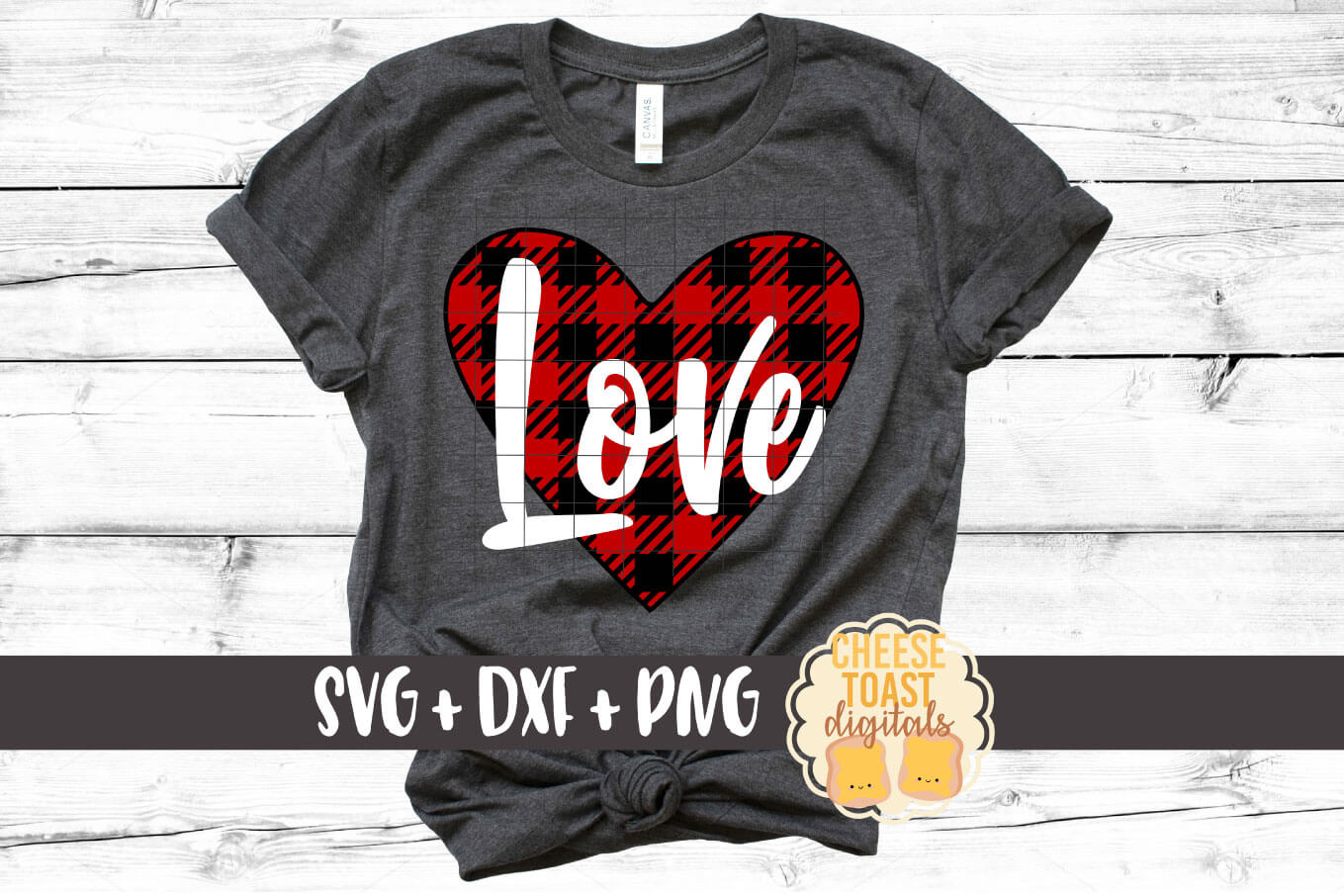 Buffalo Plaid Love - Heart - Valentine SVG PNG DXF Cut Files example image 1