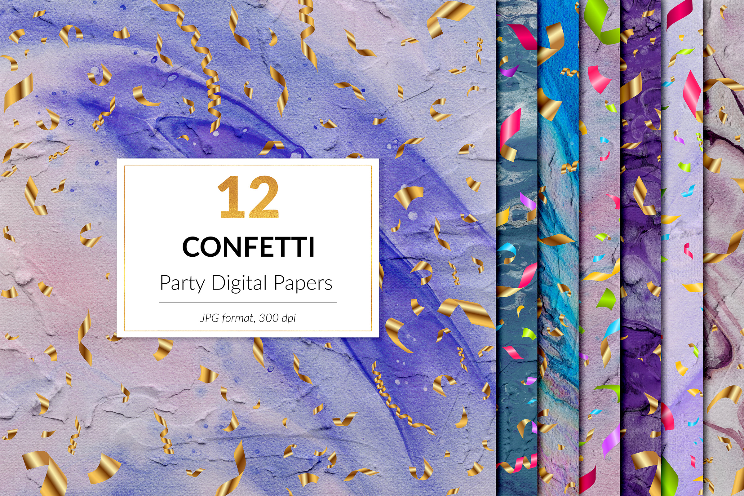 Party Digital Paper - Gold Confetti example image 1