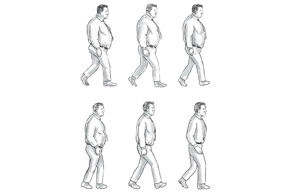 Obese Man Morphing To Fit Man Collection Set example image 1
