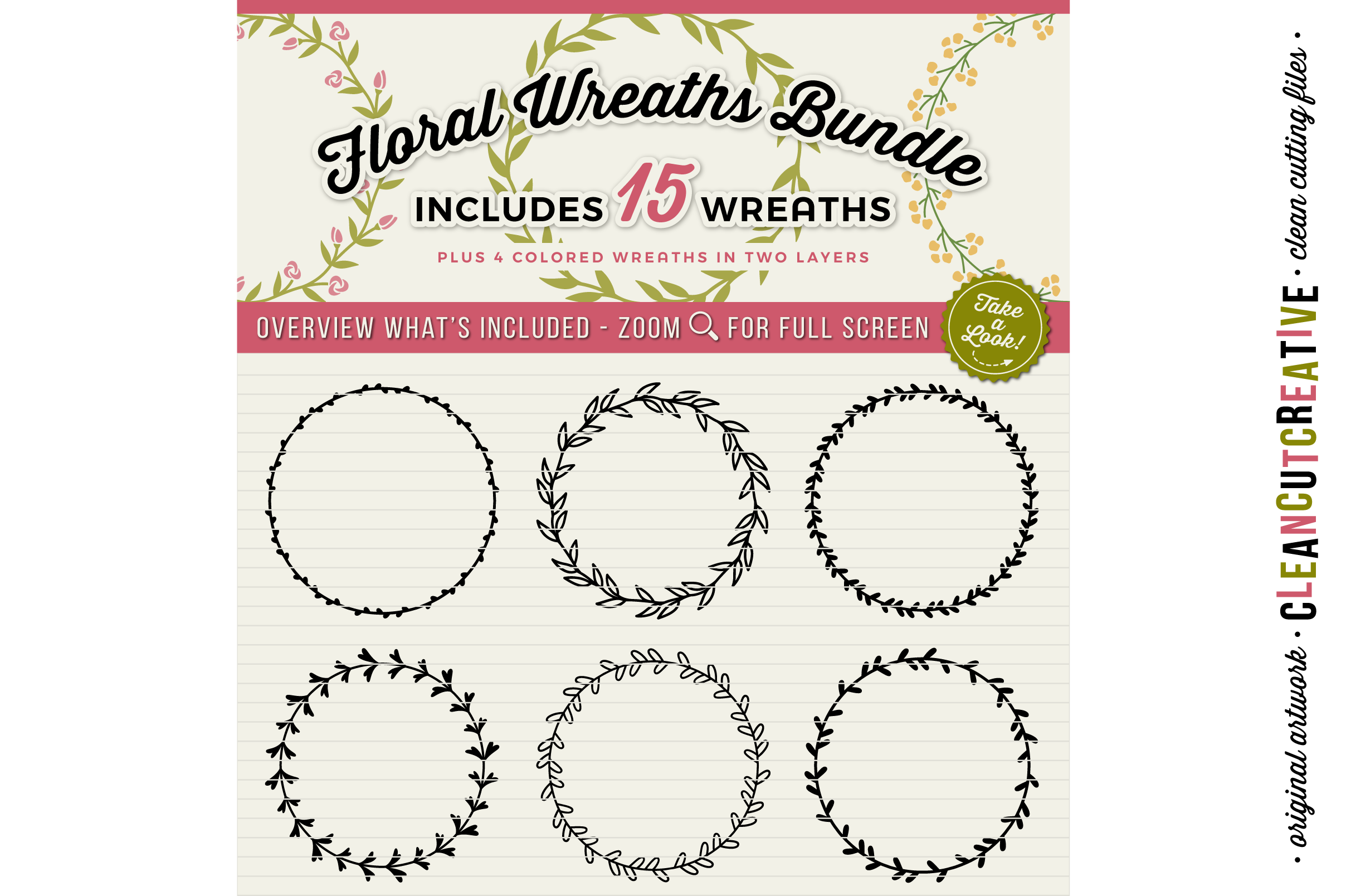 15 svg FLORAL WREATHS floral leaf circleframes - SVG DXF EPS PNG - for Cricut and Silhouette Cameo - clean cutting digital files example image 2