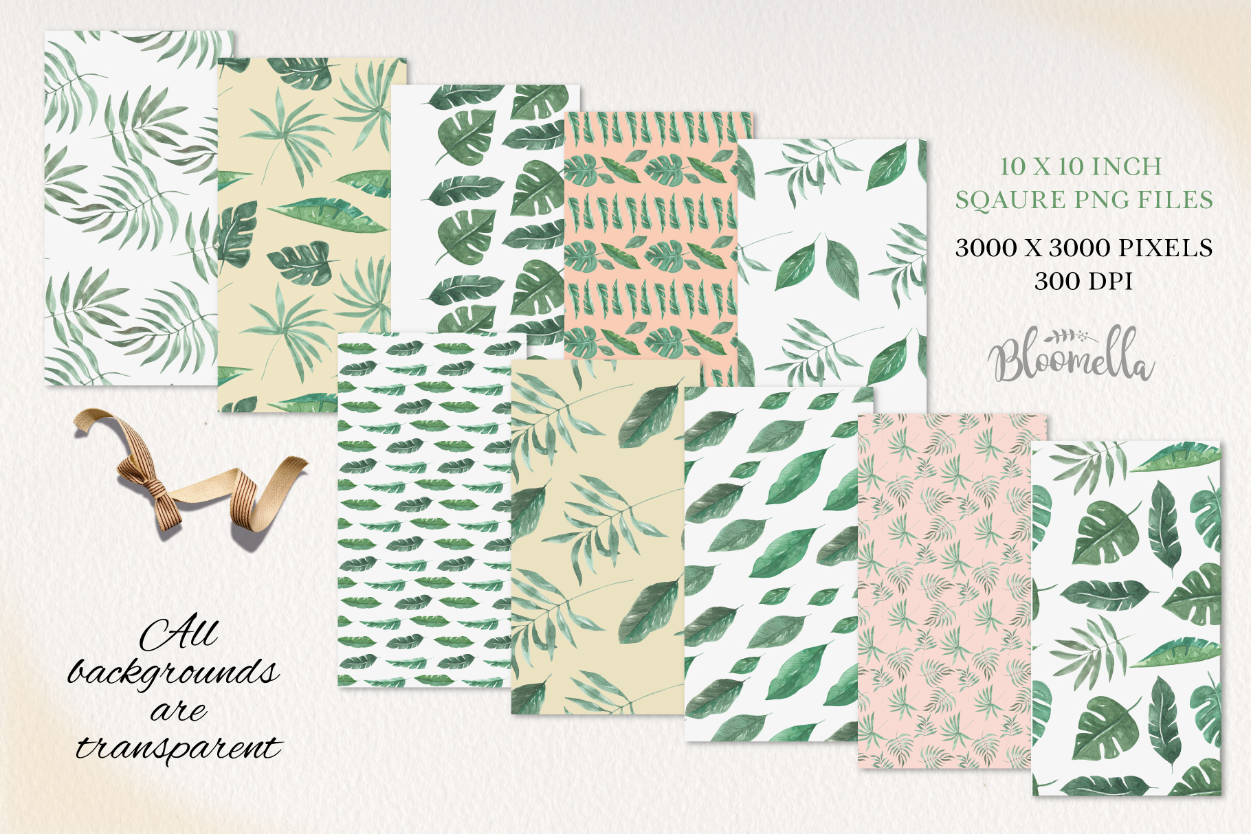 Rainforest Seamless Patterns Digital Papers Tropical Leaves example image 3