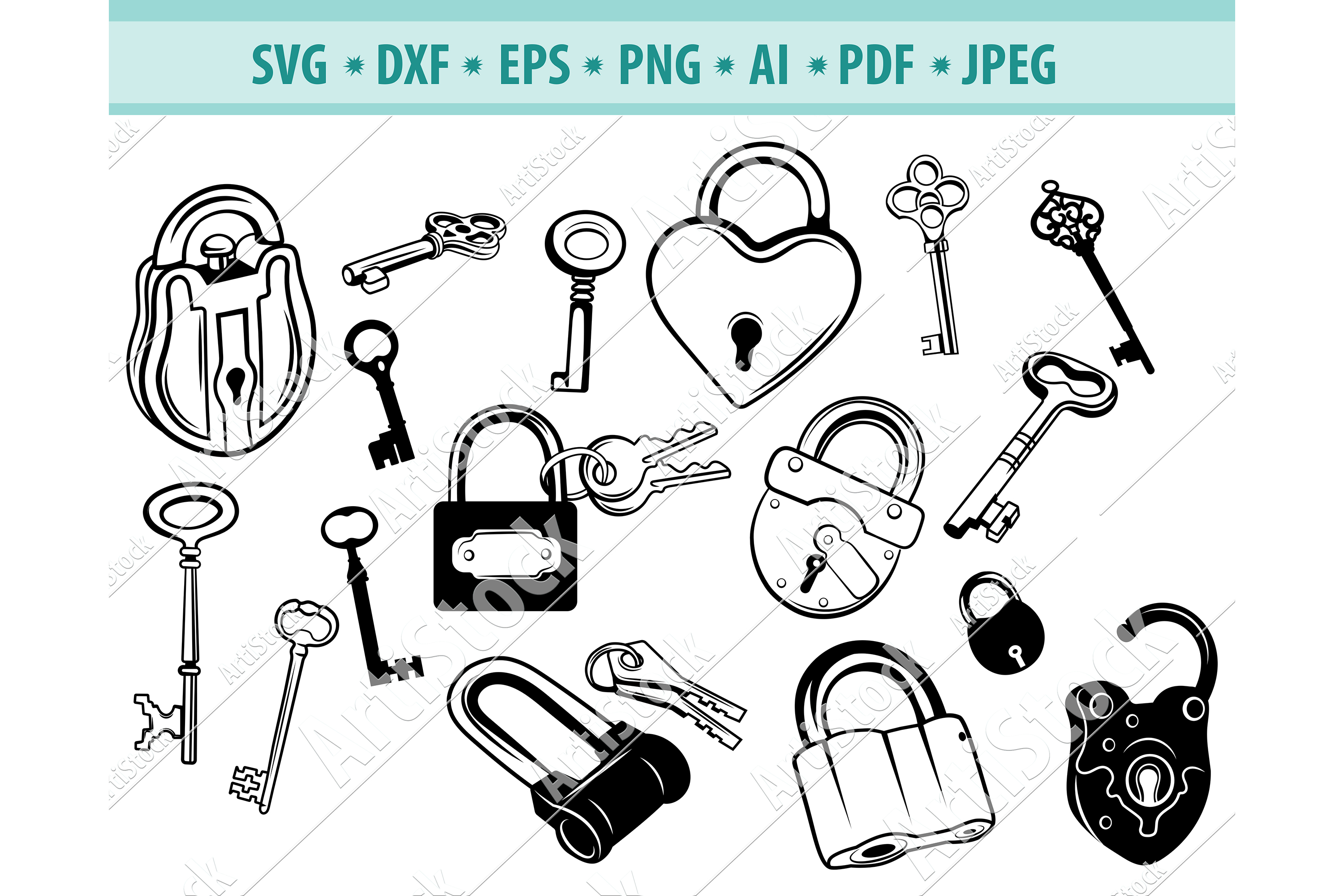 Lock svg, Key svg,Door key svg, Key Lock Svg, Dxf, Png, Eps example image 1