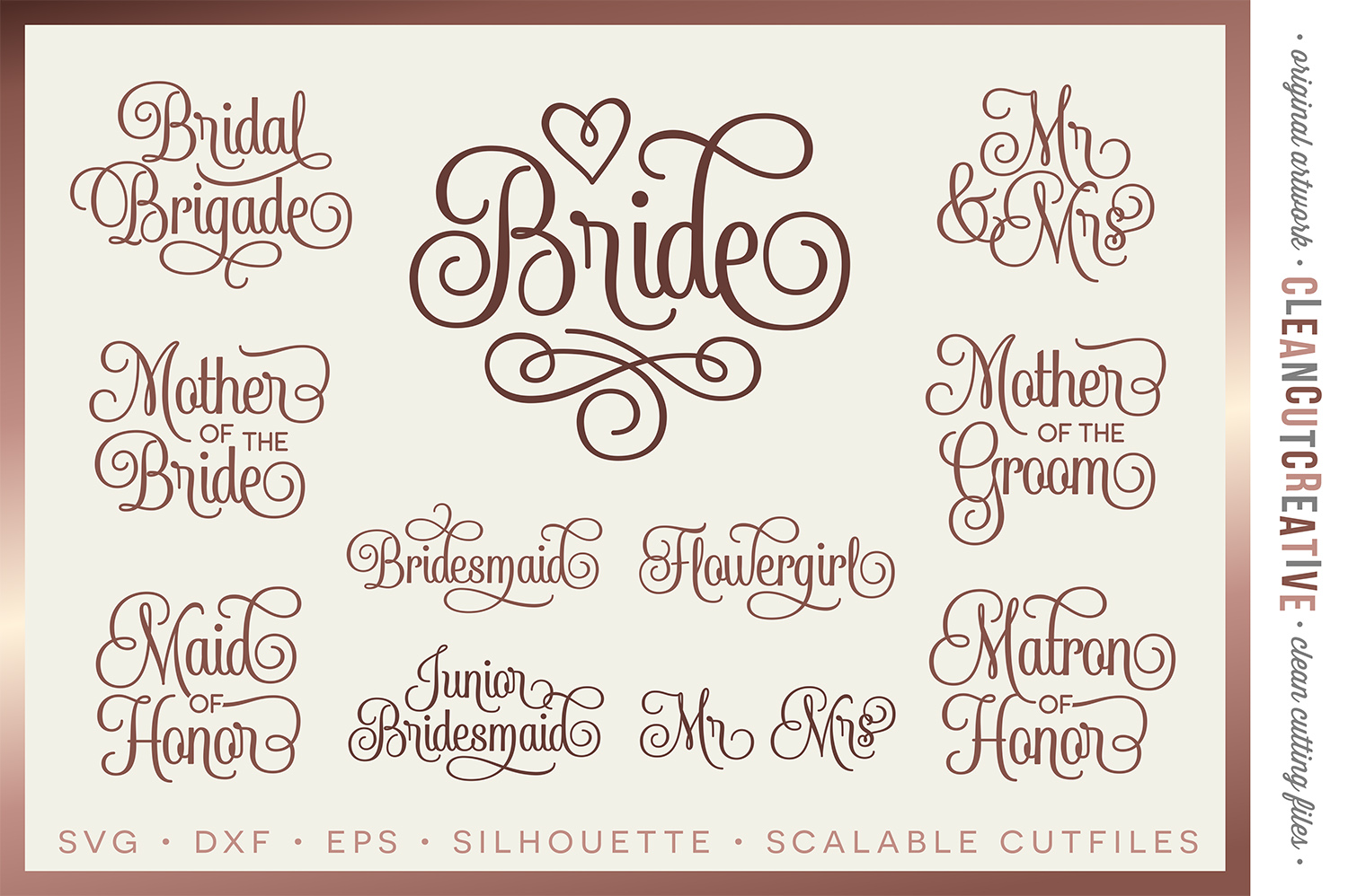 Bridal Party - Wedding Party - SET of 11 - SVG DXF EPS PNG example image 1