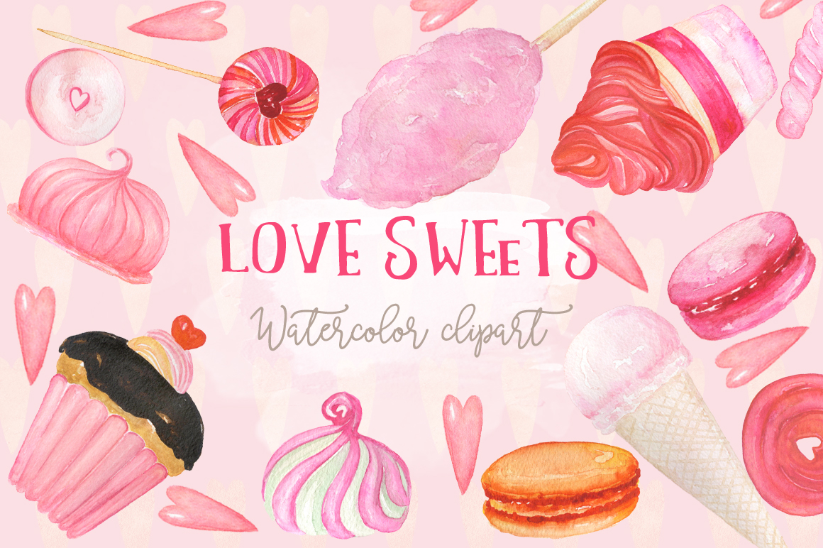 Love sweets. Watercolor clipart example image 2