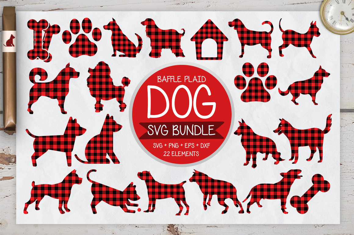 22 Dog Buffalo Plaid SVG Bundle example image 1