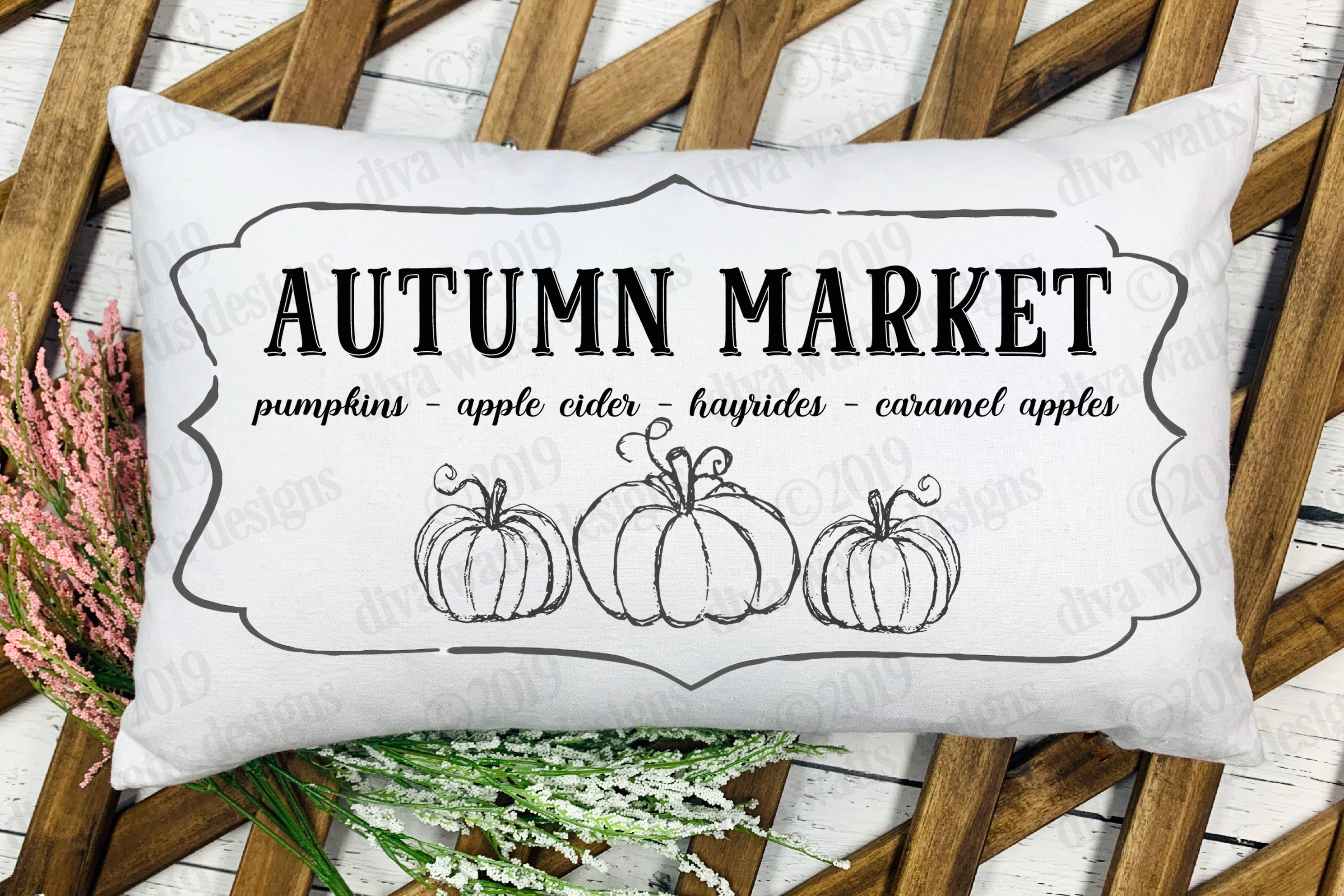 Autumn Market Pumpkins Apple Cider Hayrides Cutting File example image 1