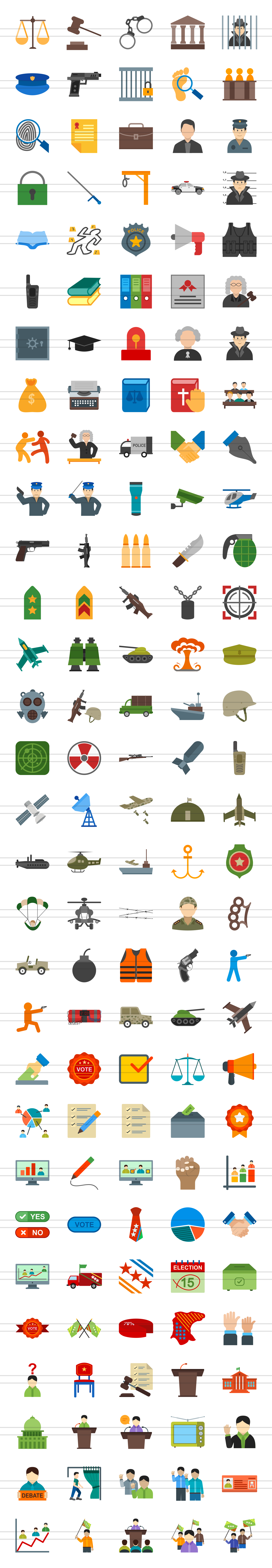 150 Law & Order Flat Icons example image 3