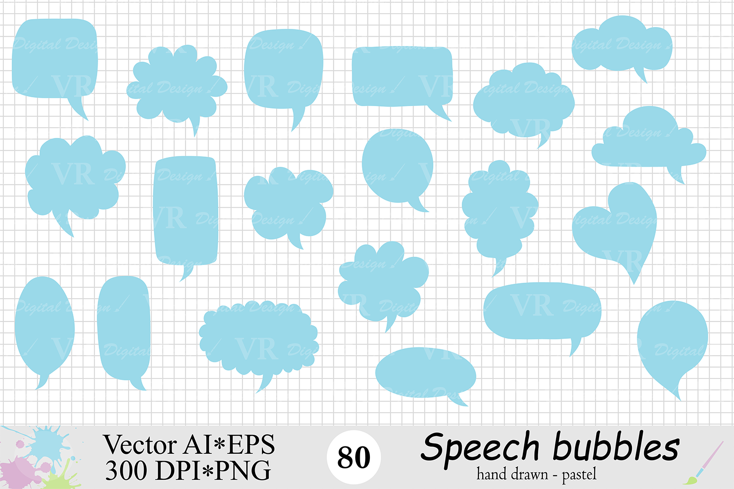 Speech Bubbles Clipart / Chat Bubbles / Hand drawn Text bubbles / Pastel Word Bubbles - Vector example image 3