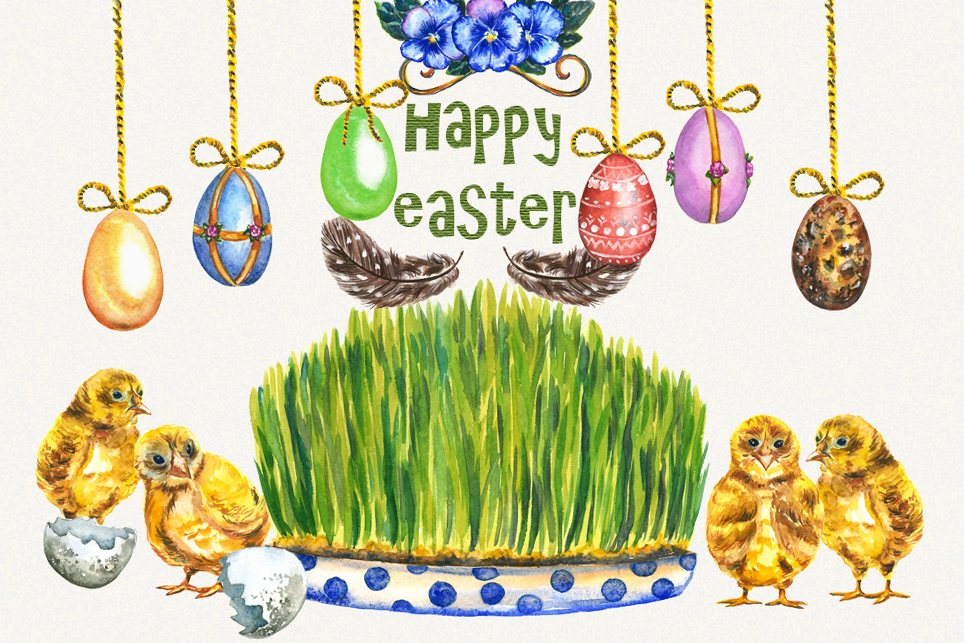 Easter Clipart, watercolor easter clipart, easter egg example image 1