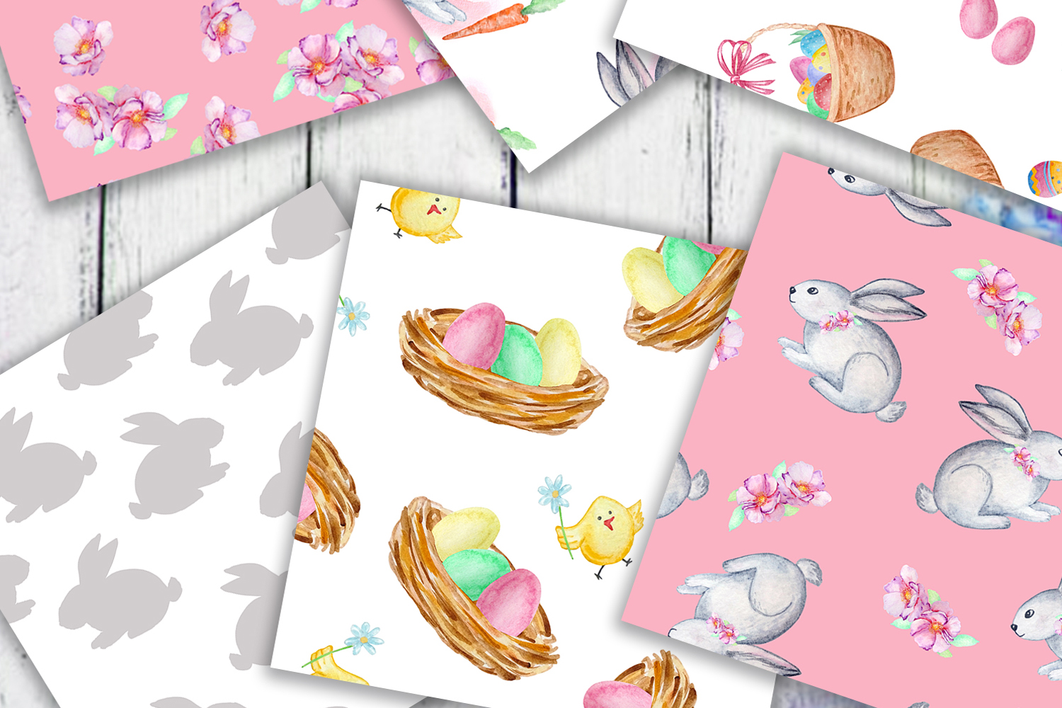 Watercolor Cute Bunny Seamless Paper Pattern example image 3