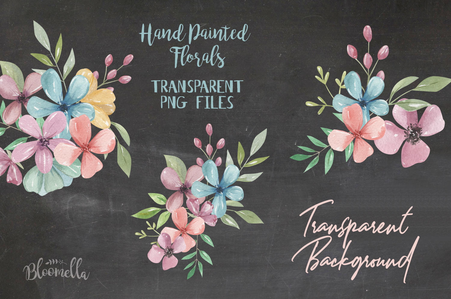 Candy Shop Florals 6 Bouquets Watercolor Wedding Leaves example image 2