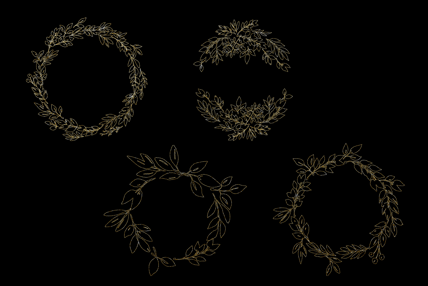Foliage doodles clip art set, hand drawn foliage, hand drawn example image 7