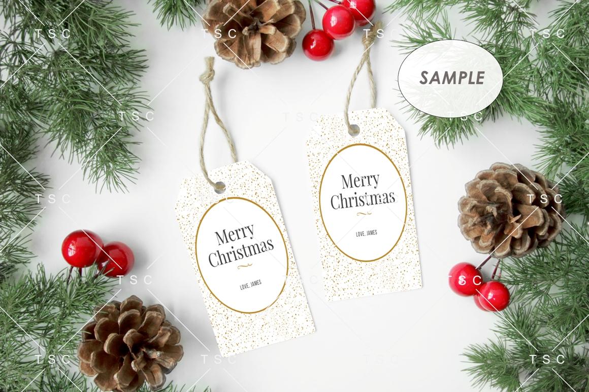 Gift Tag Mockup / Christmas Present Tag Mockup example image 2