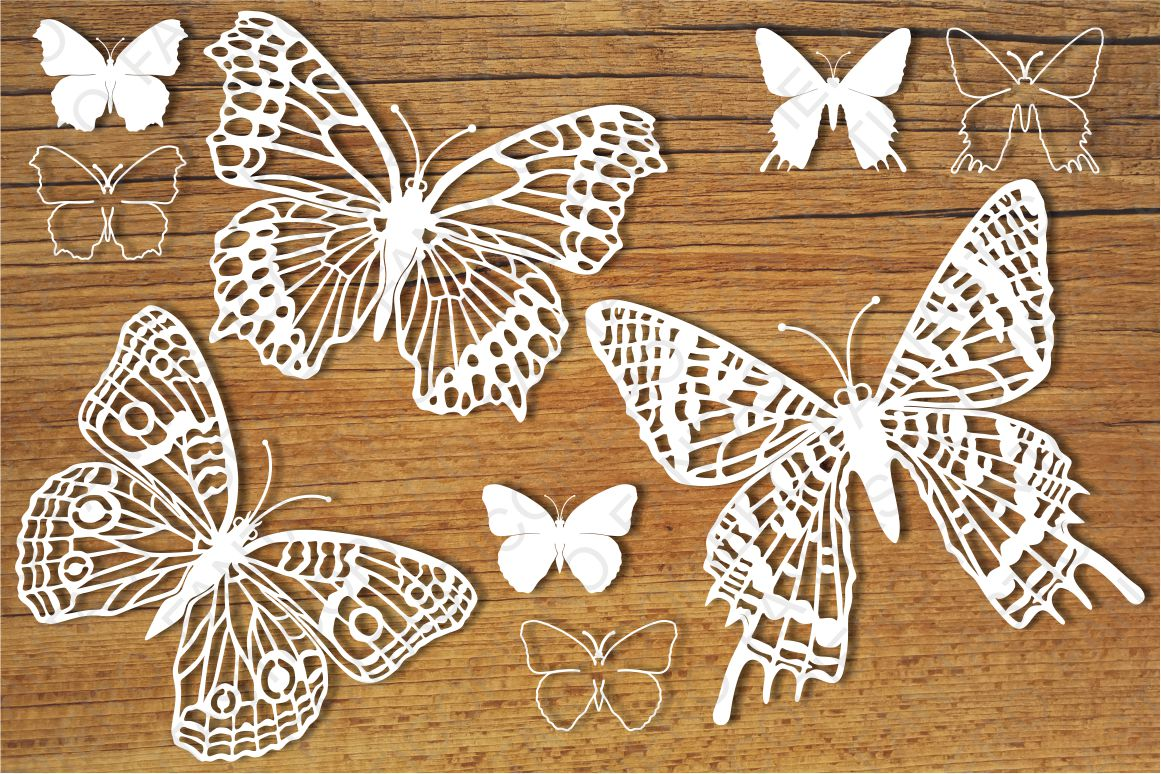 Butterflies set 5 SVG files for Silhouette and Cricut. example image 1
