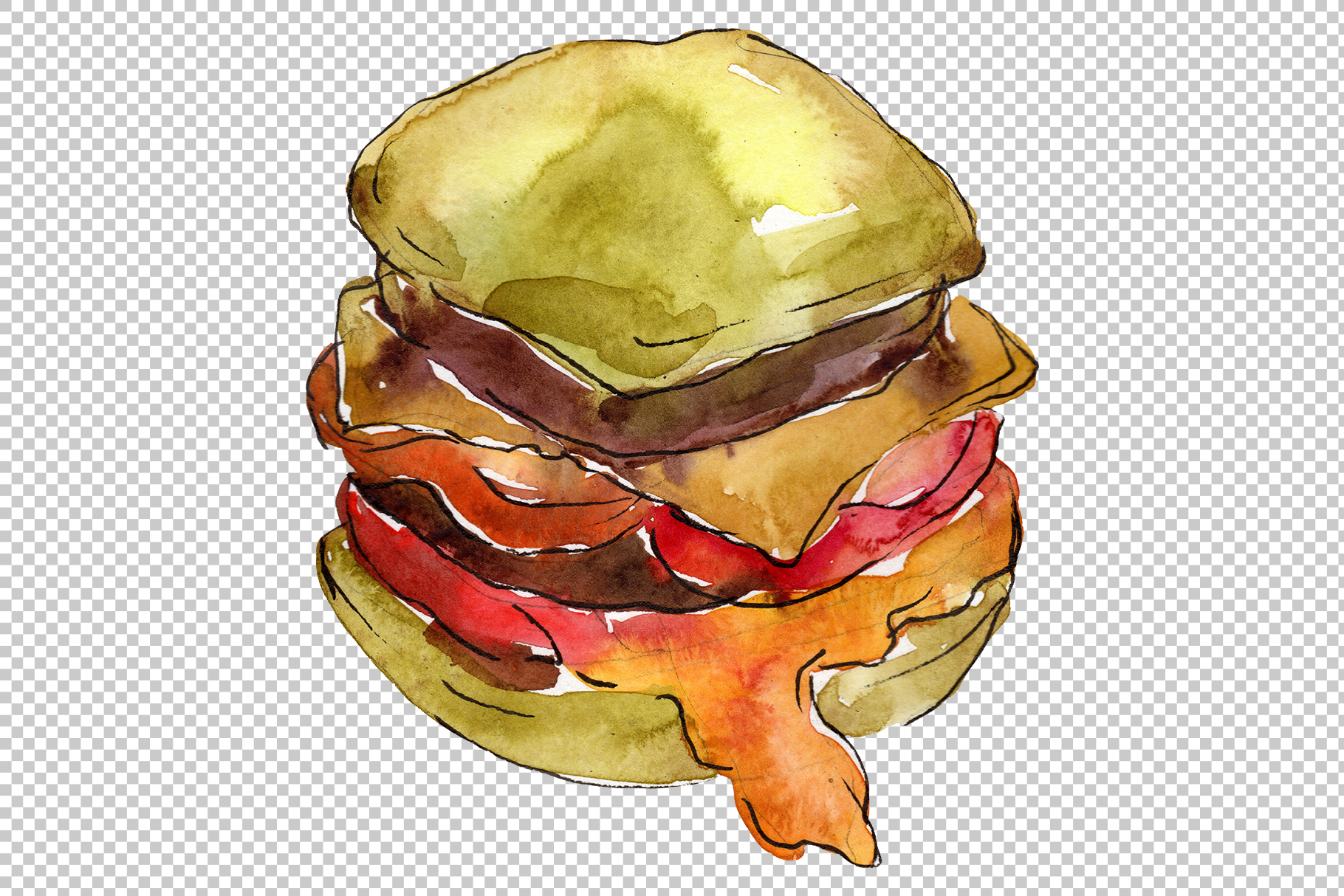 Hamburger for gentleman watercolor png example image 6