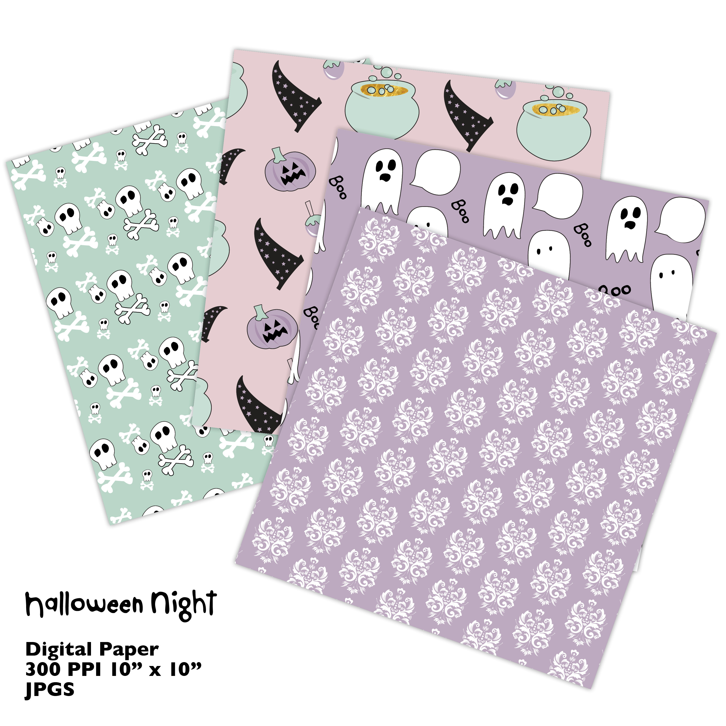 Hand Drawn Halloween Digital Paper in Pastel Colors example image 6