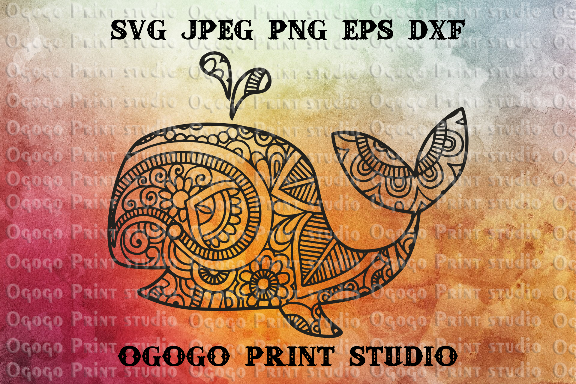 Whale SVG, Zentangle SVG, Sea animal SVG, Baby svg example image 1
