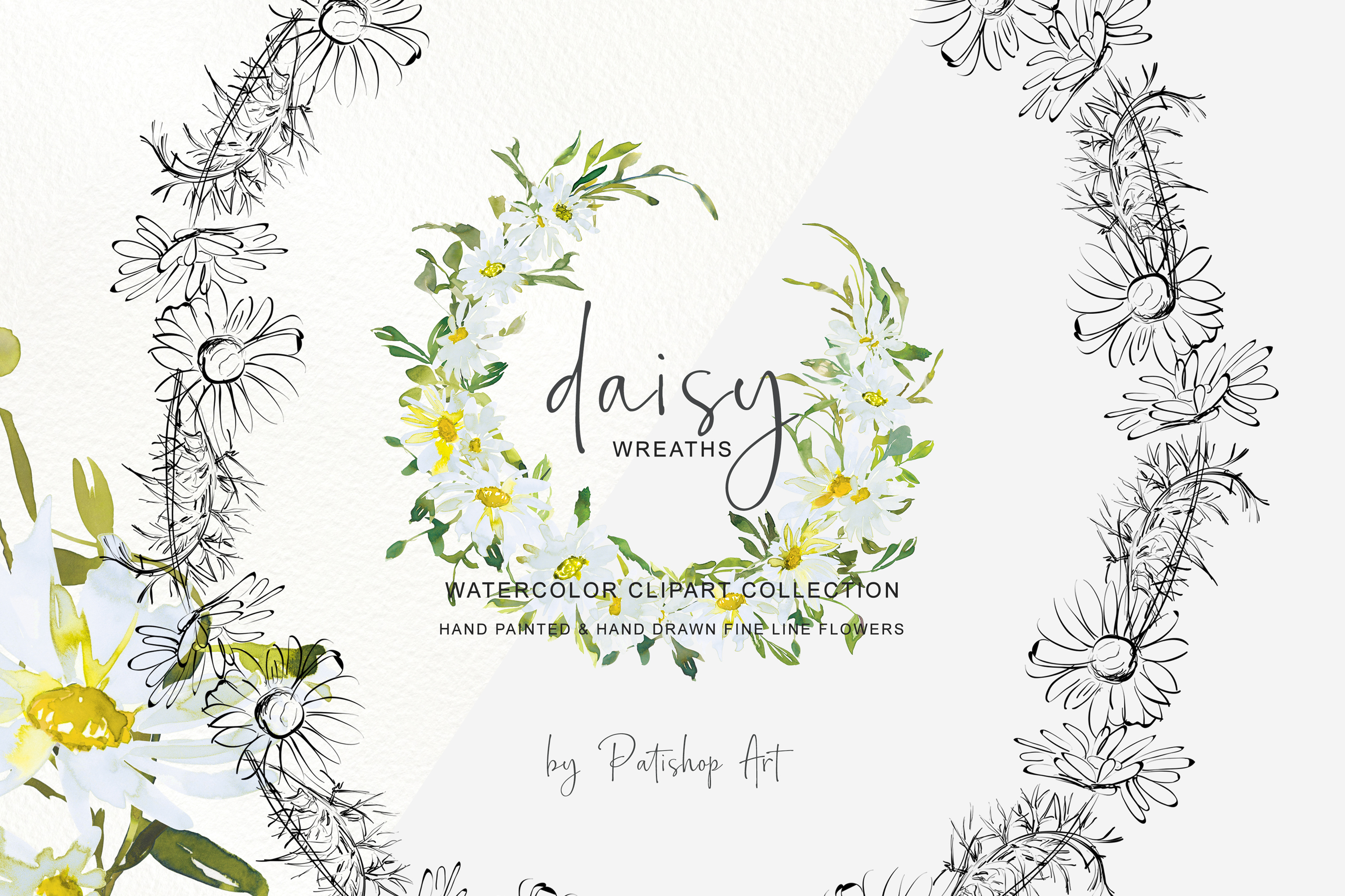 Watercolor Daisy Wreath Clip Art example image 4