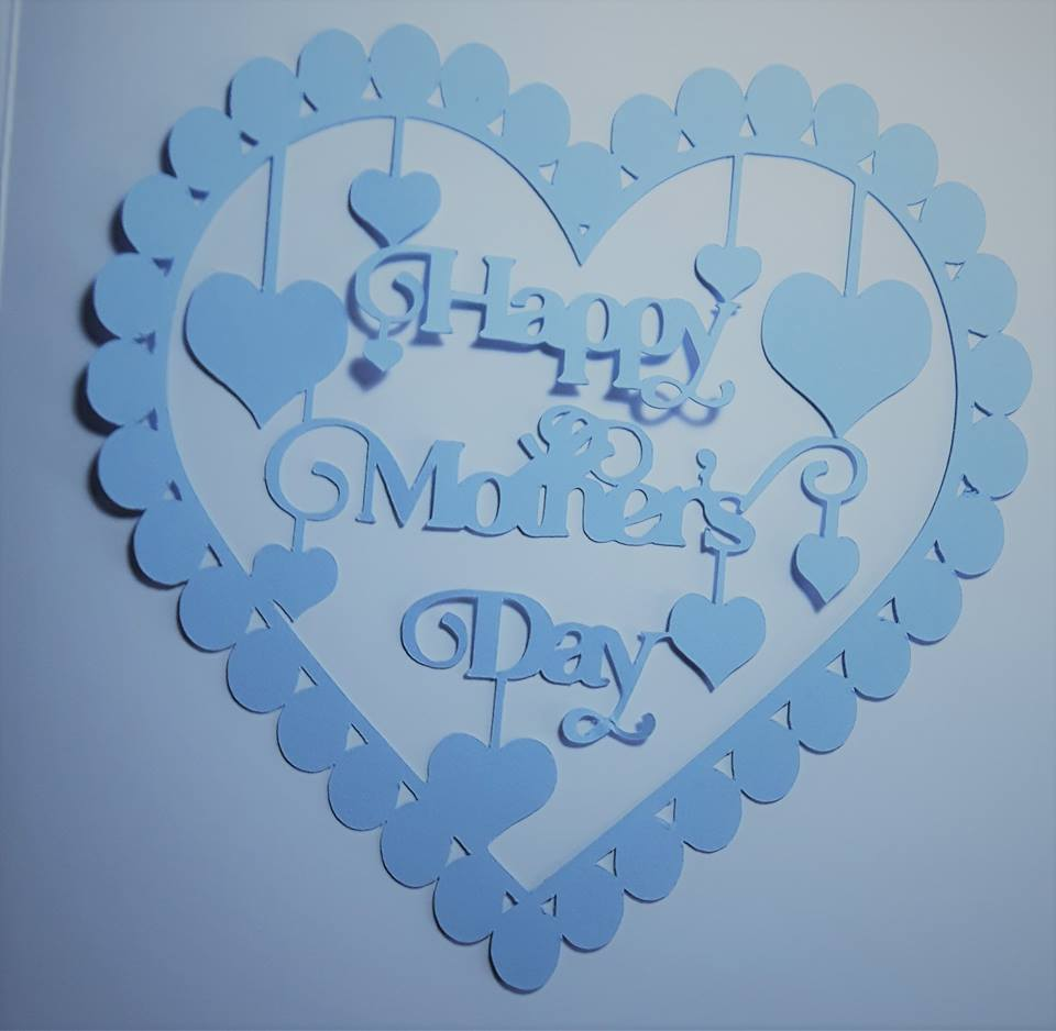 Happy Mother's Day with hearts papercutting template example image 2