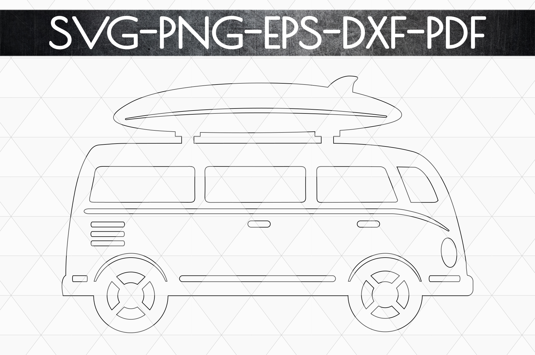 Summer Surf Papercut Template, Bus With Surf Board SVG, DXF example image 5