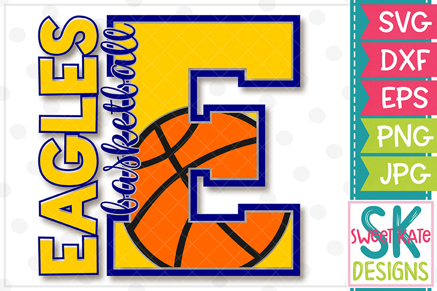 E Eagles Basketball SVG DXF EPS PNG JPG example image 2