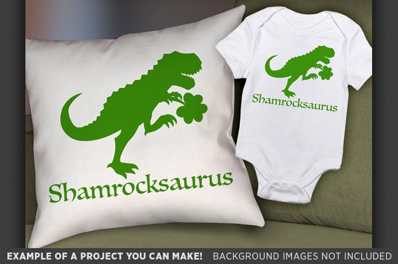 Dinosaur Svg File - Shamrockasaurus St. Patricks Day - 1067 example image 2