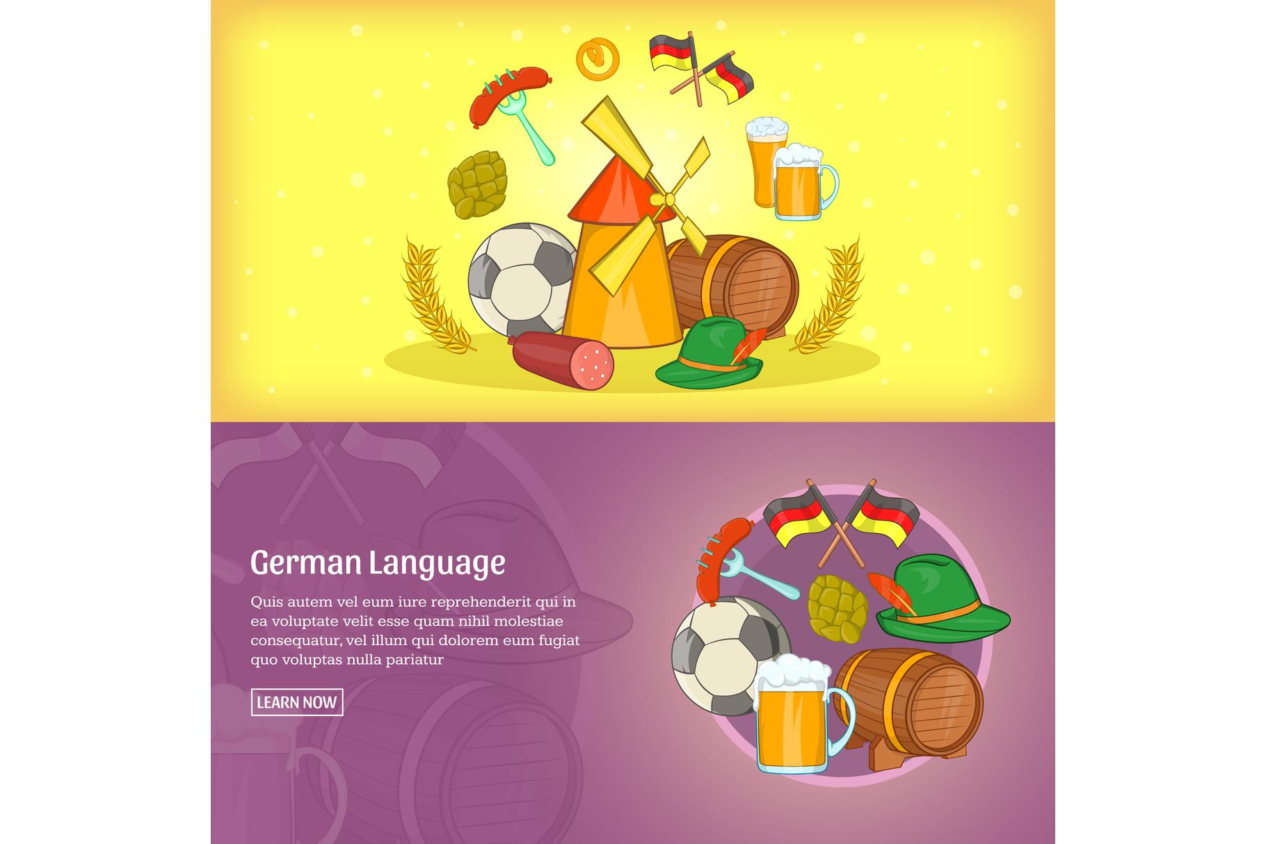 German banner template set, cartoon example image 1