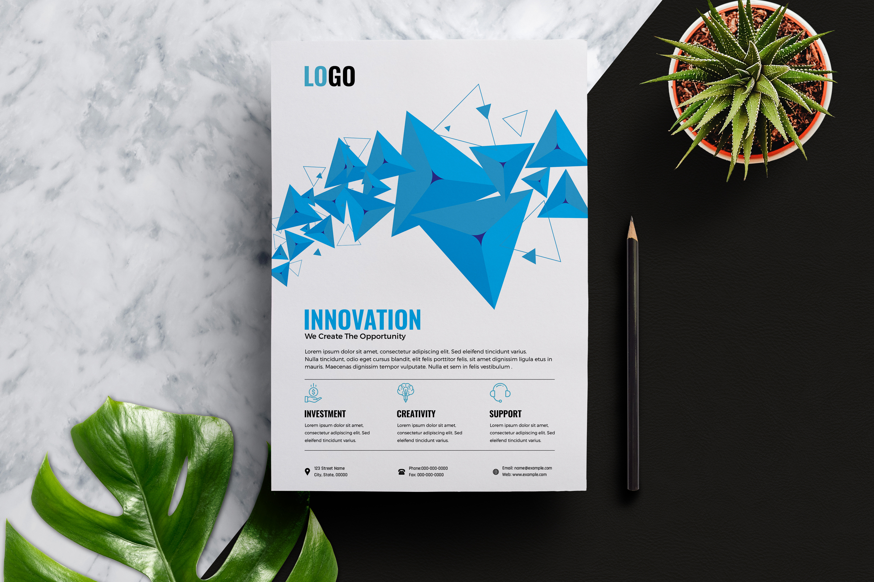 Abstract Business Flyer Template example image 2
