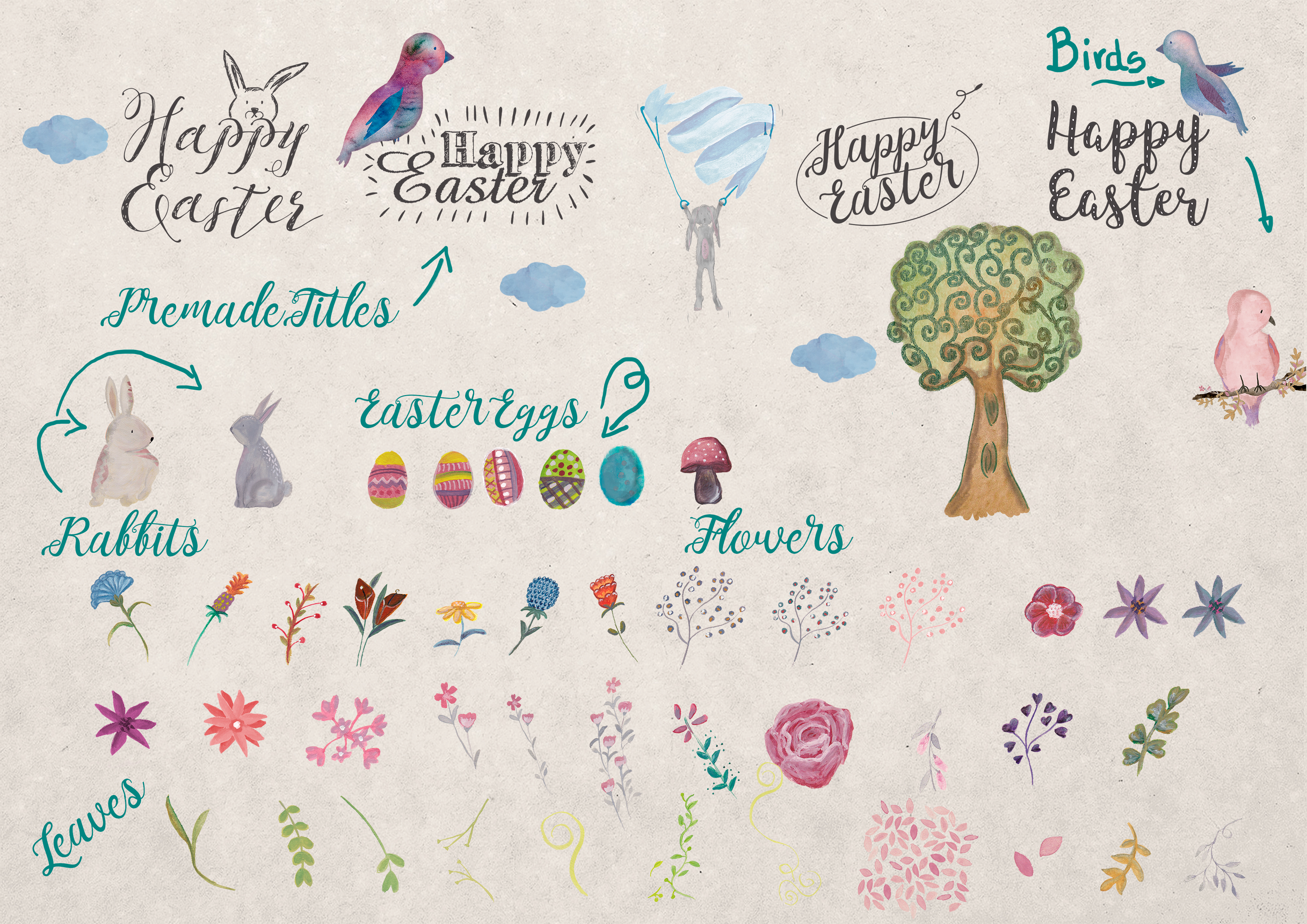 Easter watercolor Collection example image 5