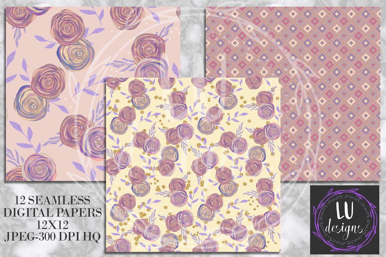 Floral Glitter Digital Paper Pack, Purple Floral Wedding Backgrounds example image 3