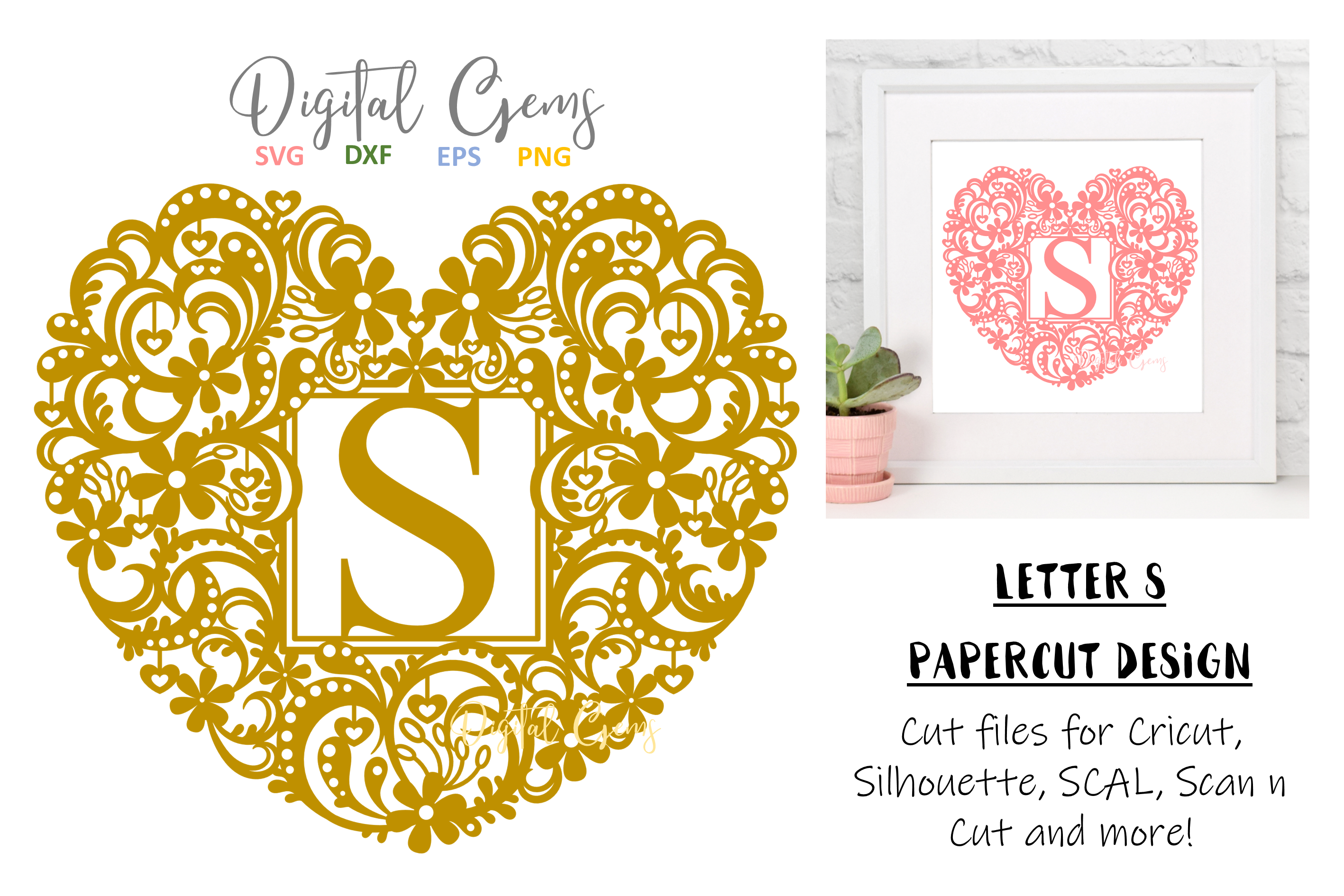 Letter S paper cut design. SVG / DXF / EPS / PNG files example image 1