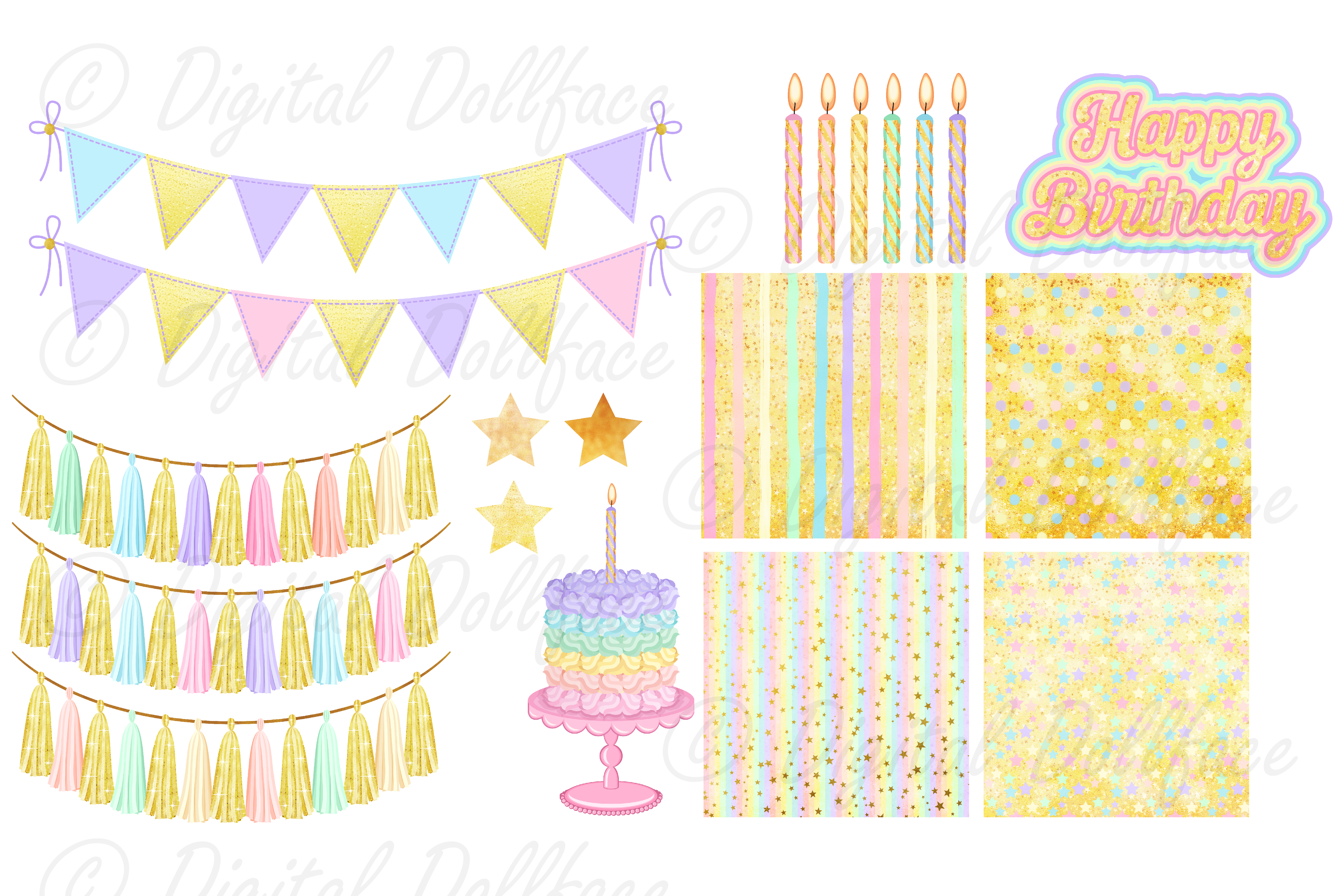 Happy Birthday Clipart and Digital Papers / Pastel Rainbow Party Graphics example image 3