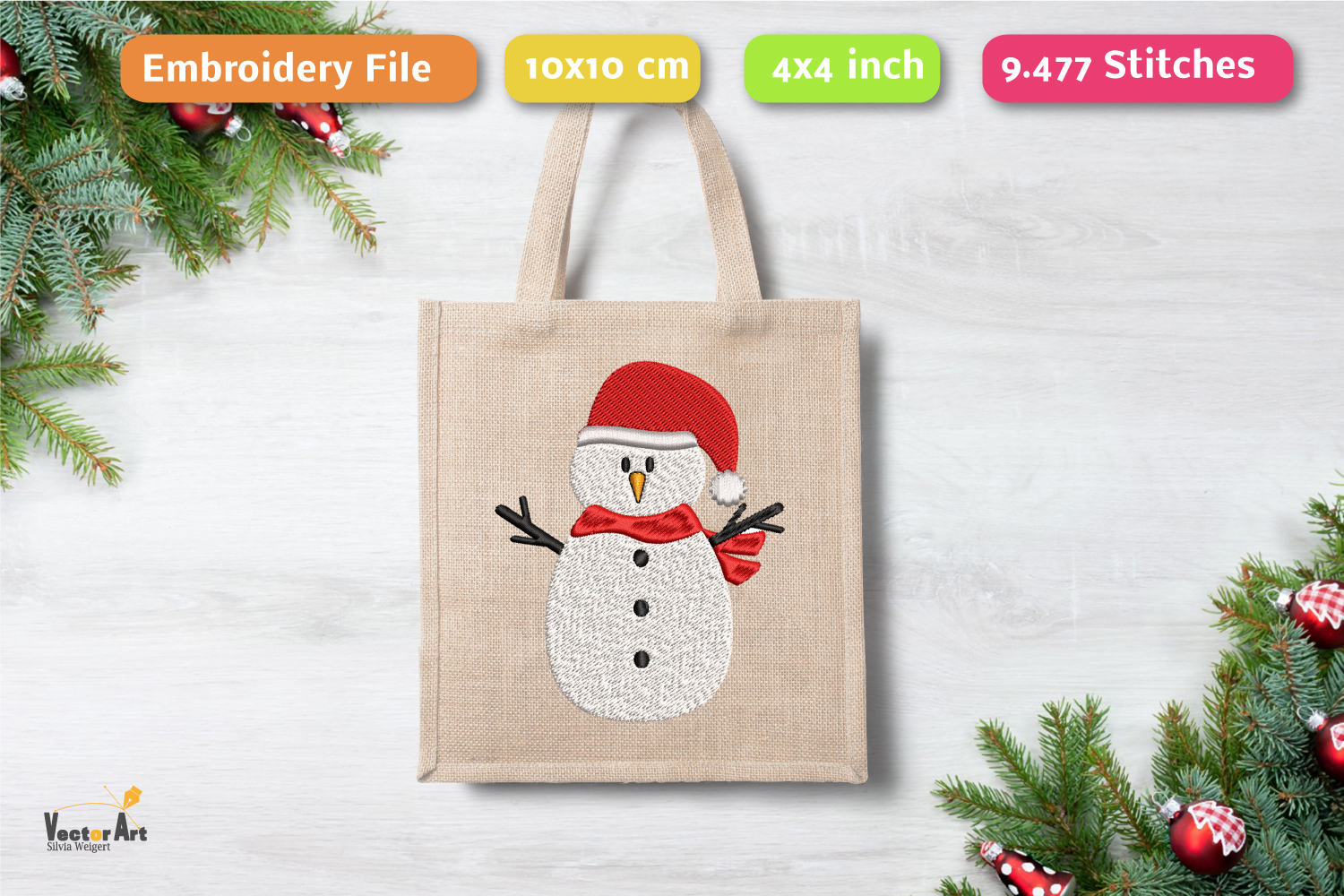 Christmas Mini Bundle - 3 Embroidery Files - 4x4 inch example image 5