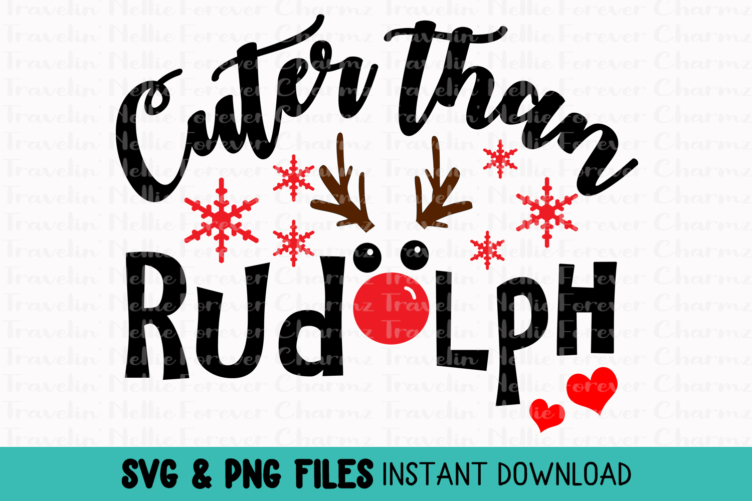 Cuter Than Rudolph SVG Toddler Kid Baby Christmas Holiday example image 1