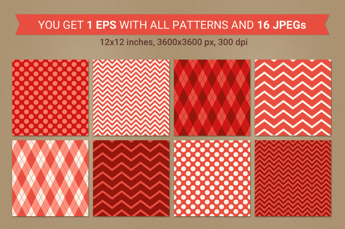 Valentine Seamless Patterns - Set 3 example image 2