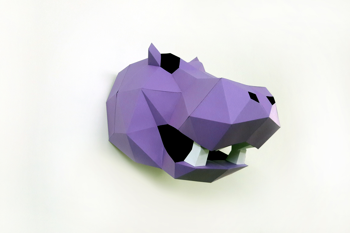 DIY Hippo Trophy - 3d papercraft example image 3