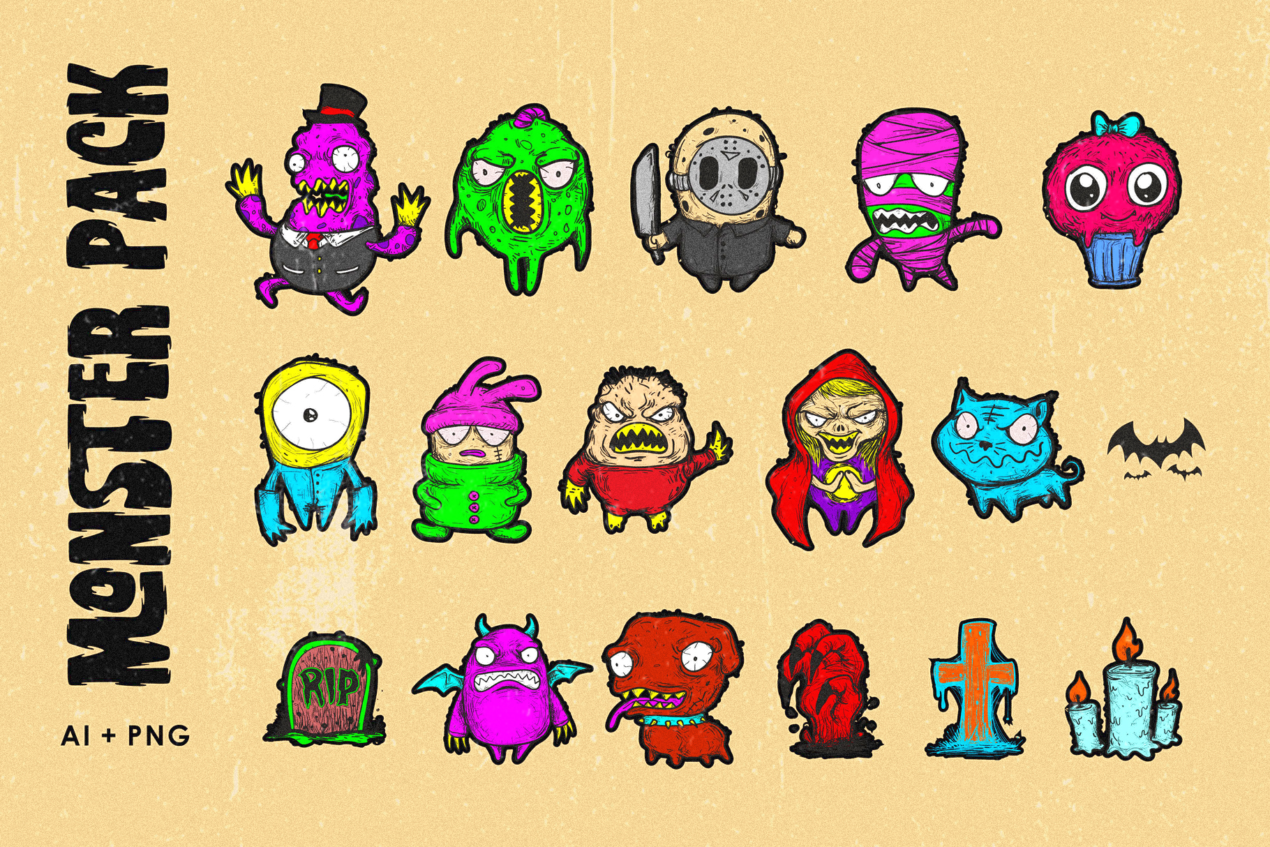 Deadclub Family Font | Bonus Monster Pack Ai and Png example image 4